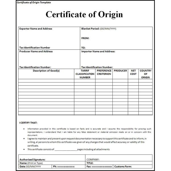 Giấy chứng nhận xuất xứ hàng hóa C/O